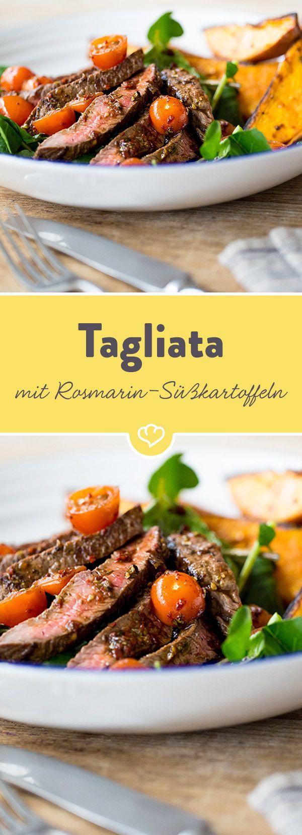 Das herzhafte Steakfleisch schmeckt im Kombination mit Süßkartoffeln besonders gut. Durch die Tomaten und die Brunnenkresse erhält das Gericht zusätzliche Frische.
