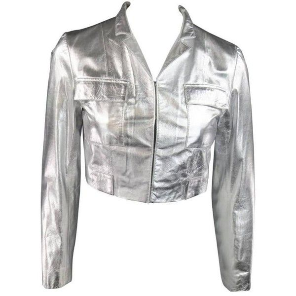 Preowned Raoul Size S Silver Leather Cropped Pocket Fall 2012 Jacket (£220) ❤ liked on Polyvore featuring outerwear, jackets, silver, silver leather jacket, genuine leather jackets, white hooded jacket, cropped jacket and real leather jackets