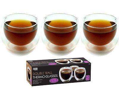 FUSION 3 x DOUBLE WALL THERMO GLASS ESPRESSO TEA COFFEE DRINK CAPPUCCINO CUP MUG