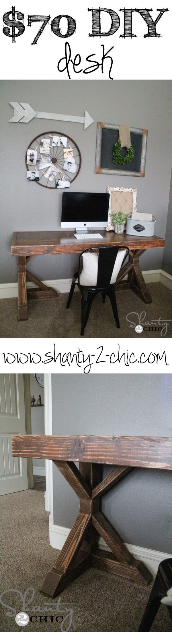 Build this DIY Trestle Desk with FREE Printable Plans! Love this!