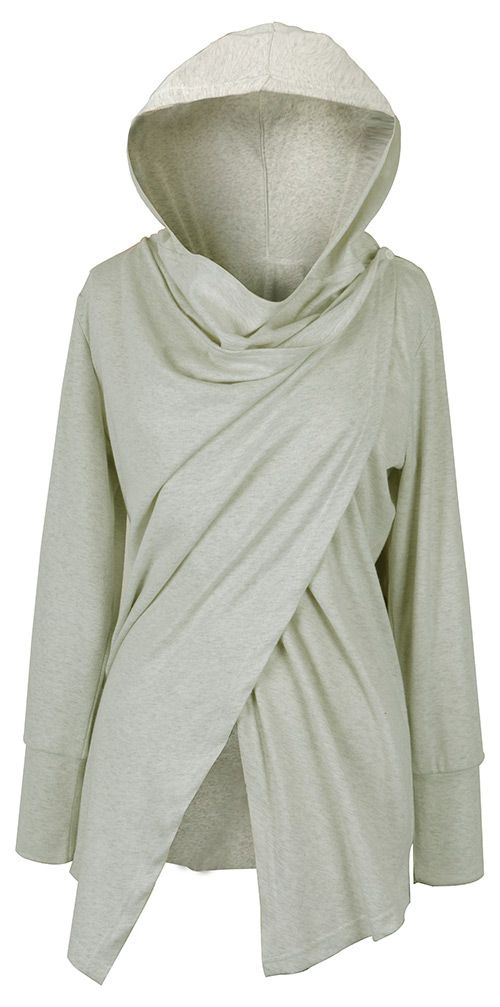 10% off for pre-order! Be mysterious with $23.99 Only&free shipping&easy return! This asymmetric hoodie is so cute detailed with button at collar! Collect it at Cupshe.com