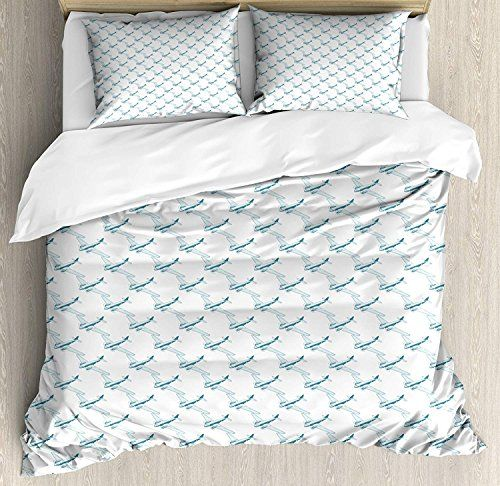 Vintage Airplane Twin Bedding Duvet Cover Set 4 Piece Hotel
