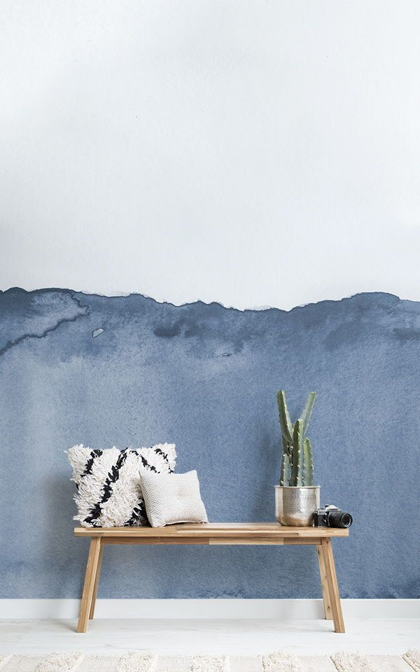 Décoration Murale Aquarelle Vague Bleu in 2018 Papier Peints