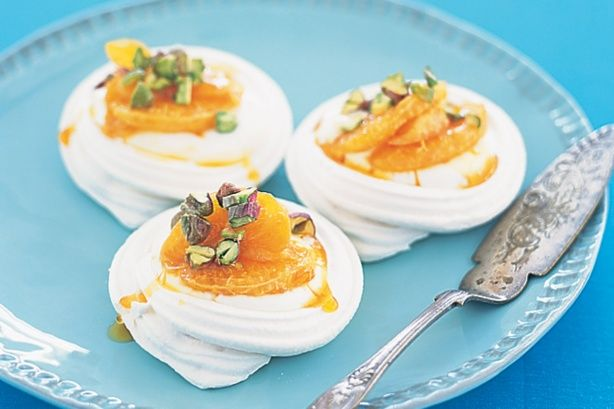 Little pavs with syrupy mandarins