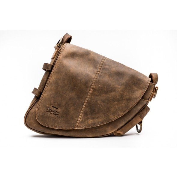 Hide Leather Frame Bag - Brown - Soft Leather