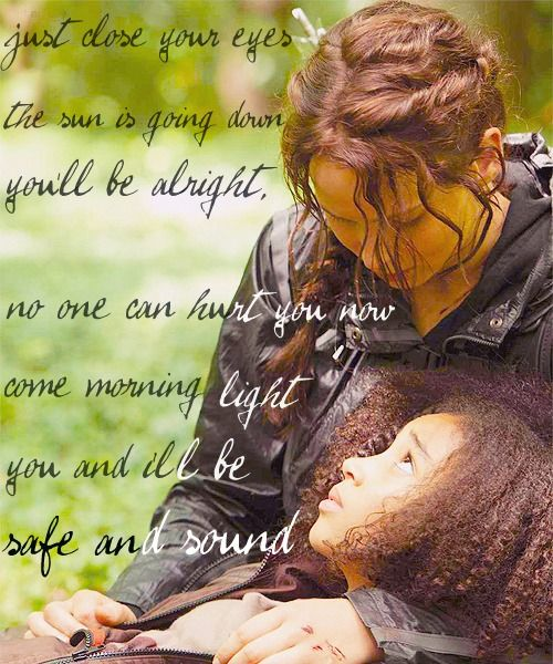 I cried so much when Rue died. I have to admit that I cried when I saw this picture. Whatever! I cry at movies and pictures! So what?
