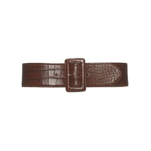 Ralph Lauren Alligator Trench-Buckle Belt (€1.790) ❤ liked on Polyvore featuring accessories, belts, vintage brown, ralph lauren belt, vintage brown belt, brown belt, buckle belt and wide buckle belt