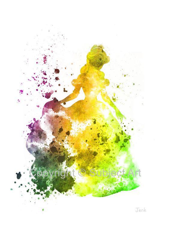 Belle, la beauté et l'illustration de la bête ART PRINT, Disney, princesse, technique mixte, Home Decor, pépinière, Kid