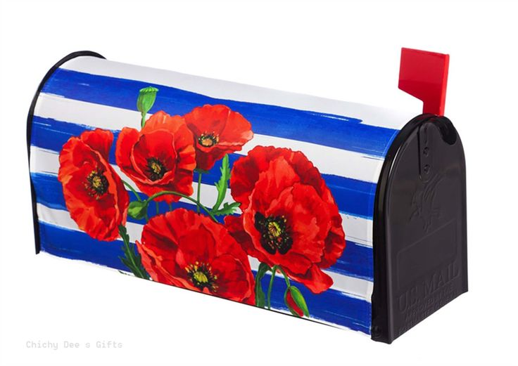 Evergreen Magnetic Mailbox Cover Curb-a-Peel Poppies and Stripes 56608