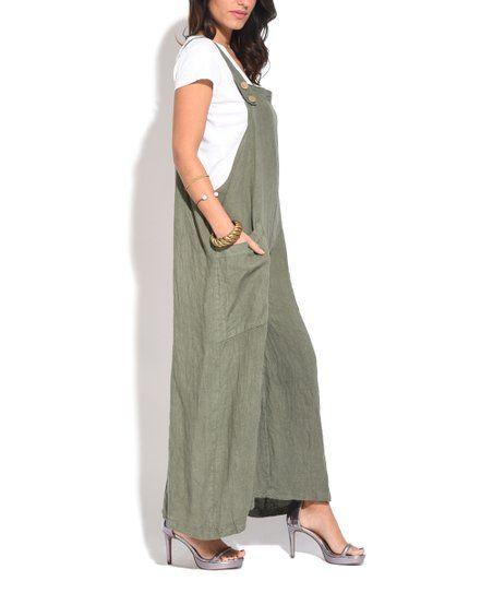 Couleur Lin Green Side Pocket Linen Overalls   Women U0026 Plus | Zulily