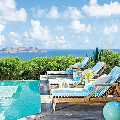 St. Barts Island Cottage: Pool Terrace Designs: Barry Dixon Photos: Coastal Living