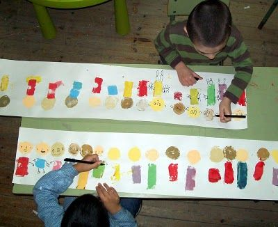 paint your friends -soooo cute! print circles and rectangles for head and bodies and then use a sharpie to add details