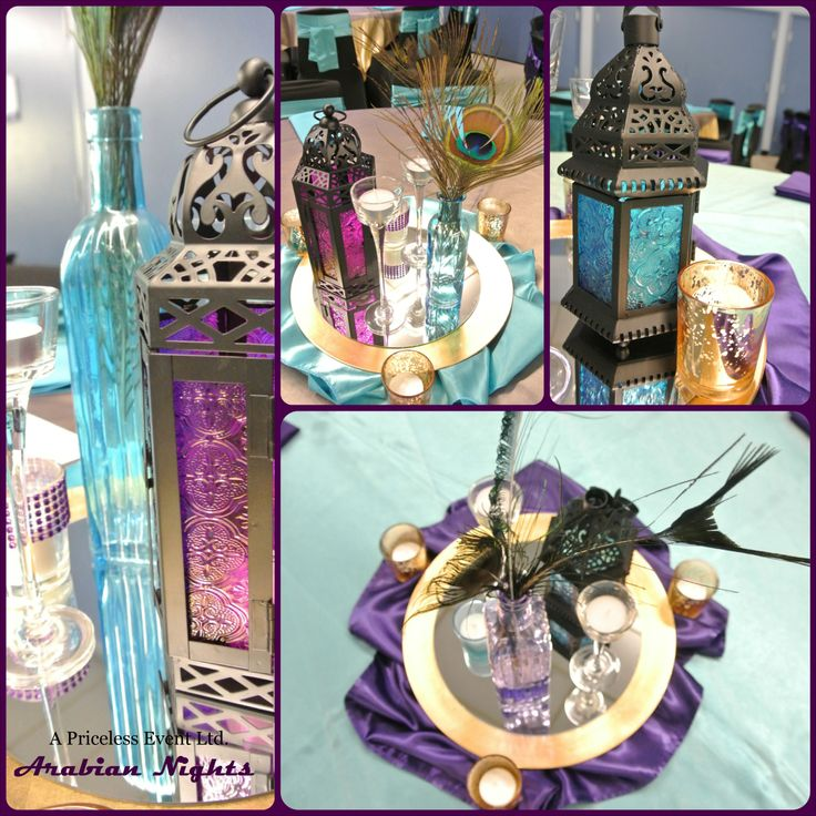 Purple turquoise gold arabian nights centerpieces for Turquoise gold wedding theme