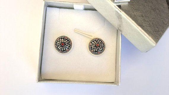 Kaleidoscope Earrings Stud Earrings Polymer Clay by MACRANI