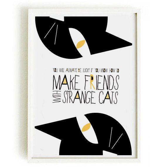 Poster di citazione CAT 4 - arte di illustrazione - citazione - gatto stampa di nicemiceforyou