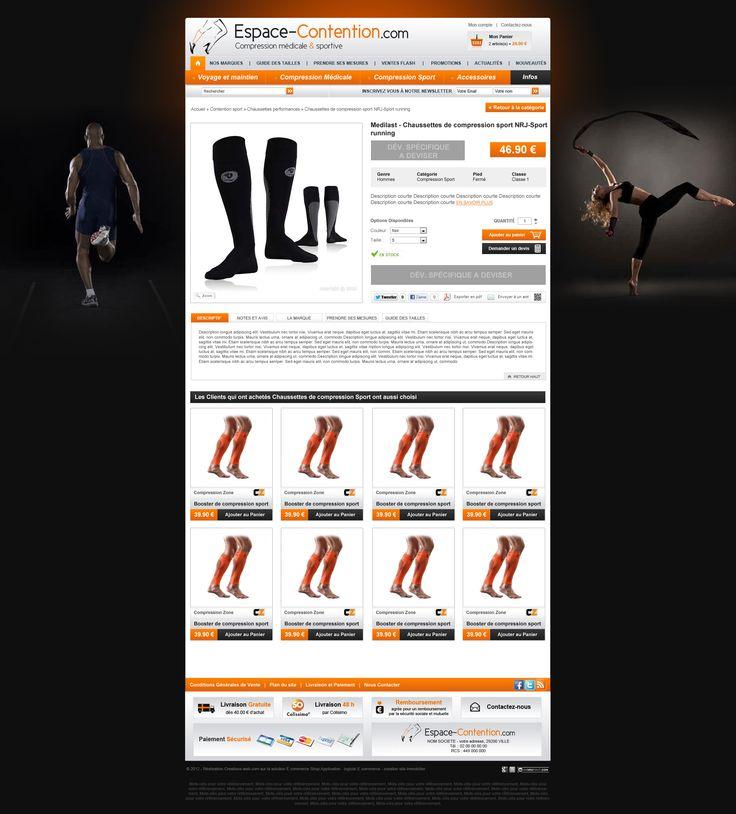 Maquette site espace-contention.com - creer site internet pour vente accessoires sport, bas contention, complements alimentaires ...