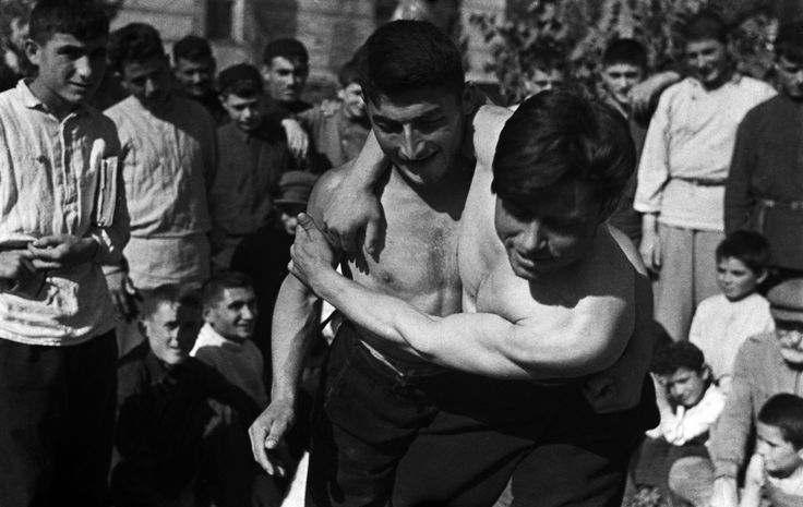 Georgian chidaoba style folk wrestling, 1938. The national form of fighting, it has survived in pure form from ancient times to today. Tbilisi, Georgia.