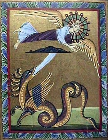 Dragon from the Bamberg Apocalypse, 11th century. The Bamberg Apocalypse is a richly illuminated manuscript containing the Book of Revelation and a Gospel Lectionary | Bamberg State Library, Msc.Bibl.140
