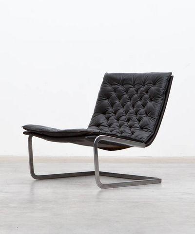 Jørgen Kastholm; Chromed Steel and Leather Lounge Chair for Kill International, 1970.