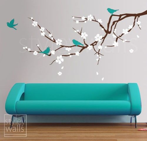 Cherry Blossom Branch Wall Decal Blossoming Almond Branch with Birds GIFT BIRDS  Flower decal Children Nursery Kids Vinyl Wall Decal sticker