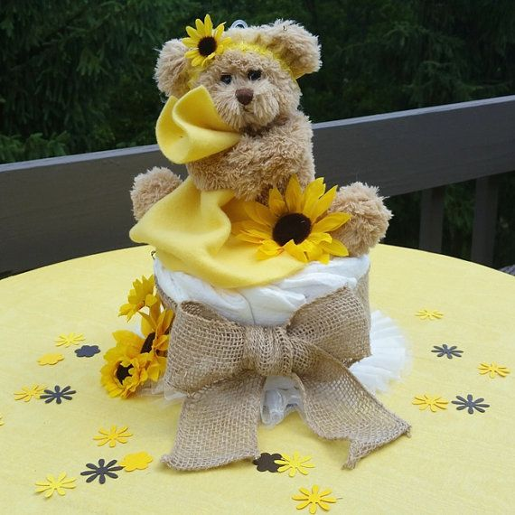 Sunflower & Burlap Themed Baby Shower - Rustic & elegant! Diaper Cake Balloon Centerpiece comes with personalized Bear & Sunflower Table Scatter and matching yellow and brown balloon bouquet by SetToCelebrate