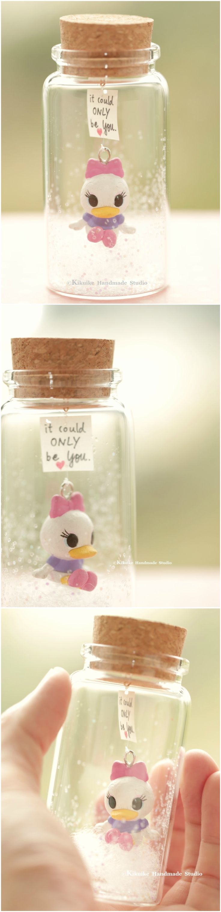 It could only be you,Tiny message in a bottle,Miniatures,Personalised Gift,funny love card,Valentine Card,Gift for her/him,Girlfriend gift, birthday gift, message card and miniatures card ideas #duck #DaisyDuck #cartoons #handmade #custom #unique #cute  #art #gold #messagecard #homedecor #deskdecor #glitter #lovecard #sweet #greetingscard #paper #seasonalcard #partygift  #personalizedgift #Longdistancegift #birthdaycard #kikuikestudio #tiny #miniatures #Daisy