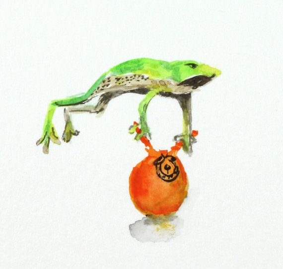 Miniatur Aquarell von einem Frosch hüpfen auf einem Raum Trichter - humorvolle Kunst - tierische Illustrationen Original-Gemälde auf Aquarell-Karte 4 x 5.5 Zoll (10 x 14 cm) (Dies ist Postkarte Größe) Das Gemälde misst ca. 1 1/4 x 1 1/4 Zoll (3,5 x 3,5 cm) Hopping mad ist dieses