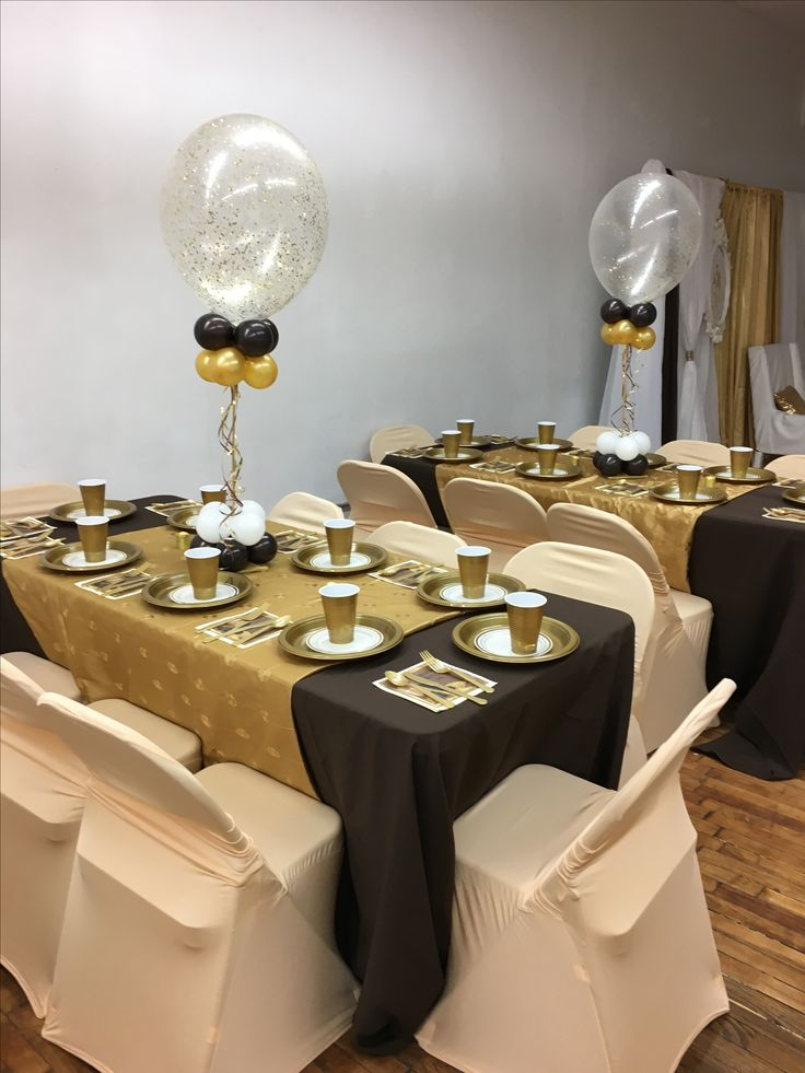 Brown Tablecloths, Gold, Overlays And Champagne Chair Covers. Glitter  Balloon Centerpieces
