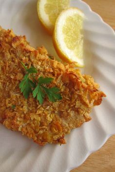 Cornflake crusted Tilapia...I actually used a little less cornflakes and added some Panko breadcrumbs and Parmesean.