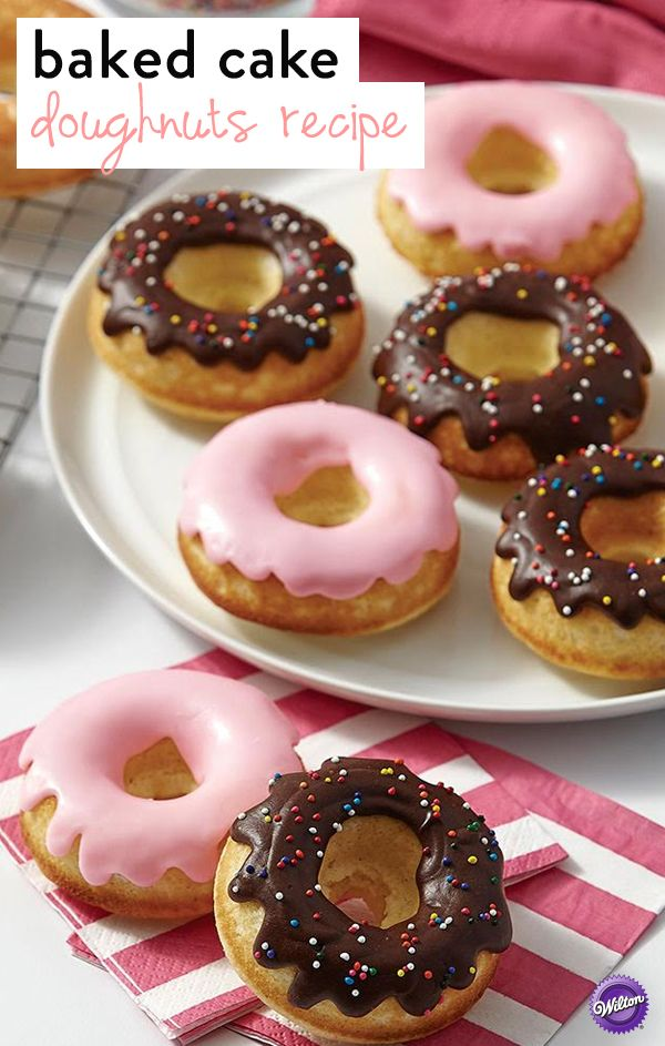 Baked Cake Doughnuts Recipe - Homemade doughnuts are simply sublime! This basic doughnut recipe lets you decorate in any style you choose—with icing, a Wilton Candy Melts glaze or drizzle, sprinkles, whatever you can imagine!
