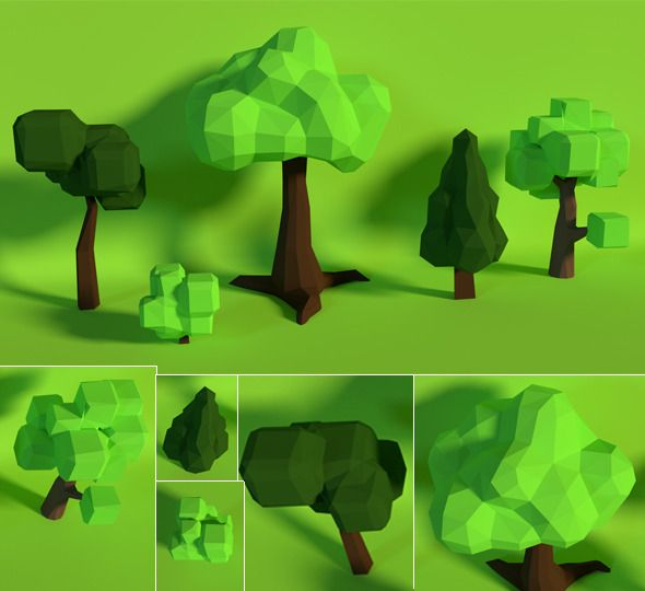 LowPoly Trees .Pack7