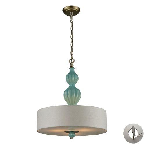31362/3-LA   Lilliana 3 Light Pendant In Seafoam And Aged Silver - Includes Recessed Lighting Kit - 31362/3-LA