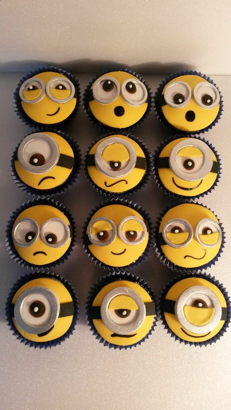 Minion cup cakes. My sister loves these little guys! so doing this for her 4th birthday!!!!!
