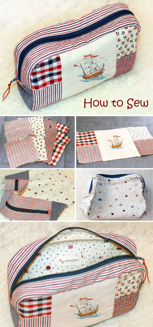 Patchwork Make-Up Bag Tutorial ~ Step by step sew tutorial. How to sew illustrat…