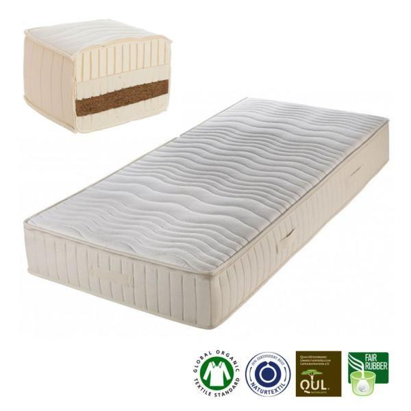 Madura es un colchón de látex natural y fibra de cocode 23 cm de grosorfabricado artesanalmente porProlana.El núcleo está compuesto por 5 cm de fibra de coco recubierta por ambos lados de 5 cm de látex natural. El grado de fir...