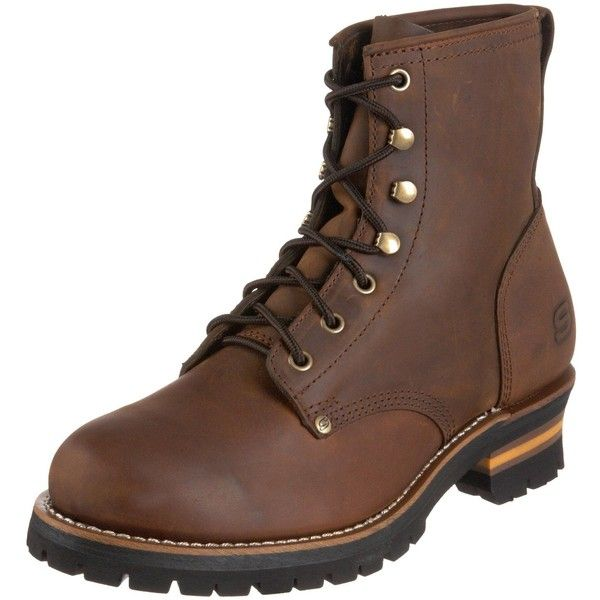 Skechers USA Men's Cascades Logger Boot | Amazon.com ($70) ❤ liked on Polyvore featuring men's fashion, men's shoes, men's boots, mens shoes, skechers mens shoes, mens boots and skechers mens boots
