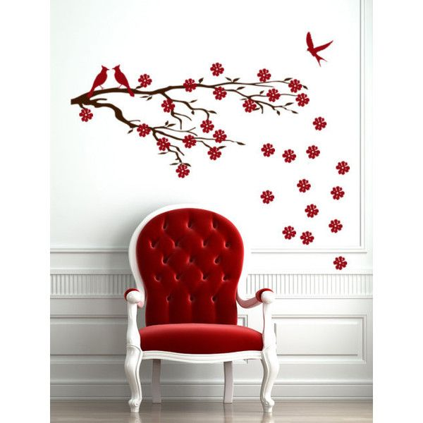 Cherry Blossom Wall Decal, Office Wall Decal, Asian Sakura Vinyl... (51 CAD) ❤ liked on Polyvore featuring home, home decor, wall art, oriental wall decals, tree branch wall art, branch wall art, vinyl decal sticker and vinyl wall decals