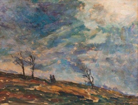 Macoun Gustav (1892–1934) | Předjarní krajina s postavami | Aukce obrazů, starožitností | Aukční dům Sýpka