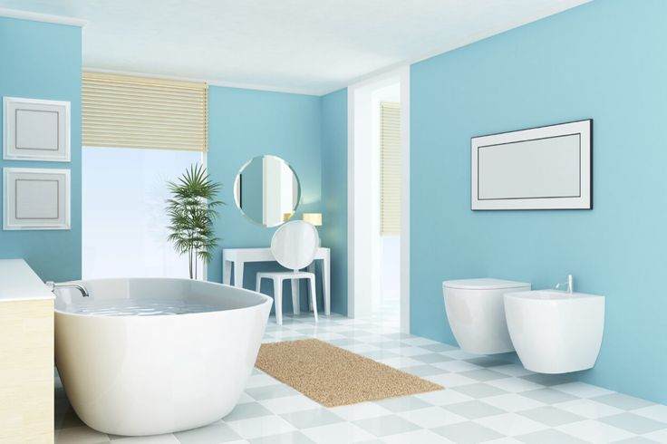 Invigorating Blue Walls With White Amenities And Large Window