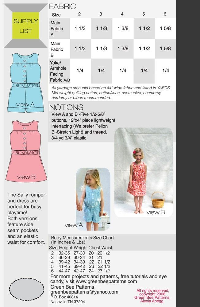 Green Bee Patterns - Sally Romper and Dress