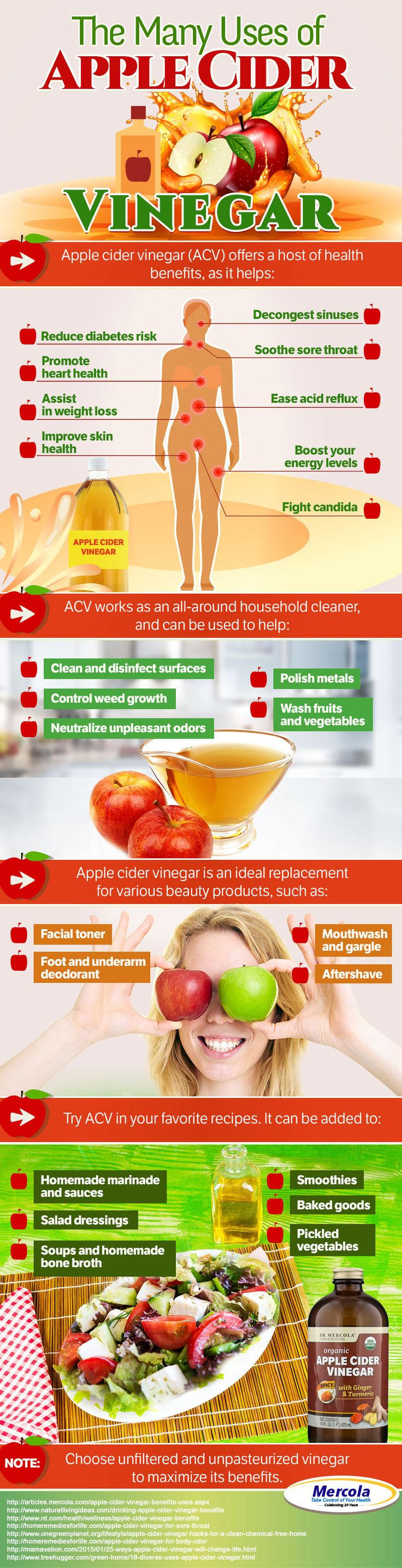 The health benefits and uses of apple cider vinegar (ACV) are now known to many, which is why this is becoming a staple in many people's kitchen pantries. http://articles.mercola.com/apple-cider-vinegar-benefits-uses.aspx http://articles.mercola.com/apple-cider-vinegar-benefits-uses.aspx