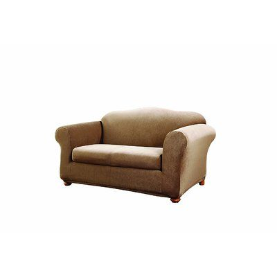 Sure Fit Stretch Stripe Loveseat Slipcover Upholstery: Brown