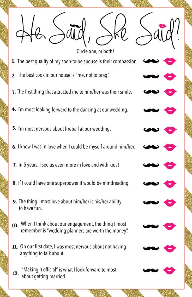 Printable He Said, She Said? Bridal Shower Game by MorningPatty on Etsy https://www.etsy.com/listing/241040920/printable-he-said-she-said-bridal-shower