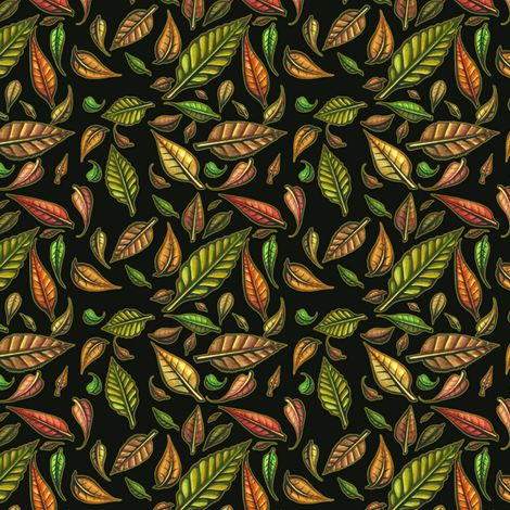 Hand Painted Swirling Autumn Leaves with black background fabric by miraculousmosquito on Spoonflower - custom fabric