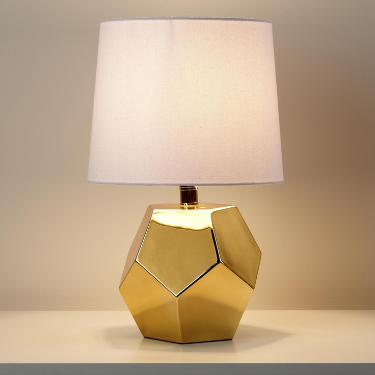 The Land of Nod | Kids Lighting: Gold Geometric Lamp Base in Table Lamps