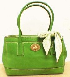 COACH Large Green Madeline Leather Satchel Shoulder Handbag. Expandable Sides!