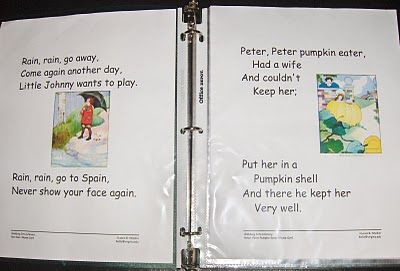 Printable Nursery Rhymes with other ideas.  Good for circle time phonemic awareness games.