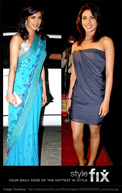 Indian style gives you magnificent colours and designs. Western style gives you understated elegance and flair. Priyanka looks stunning in both, but if you had to pick ... which one is the most stylish?