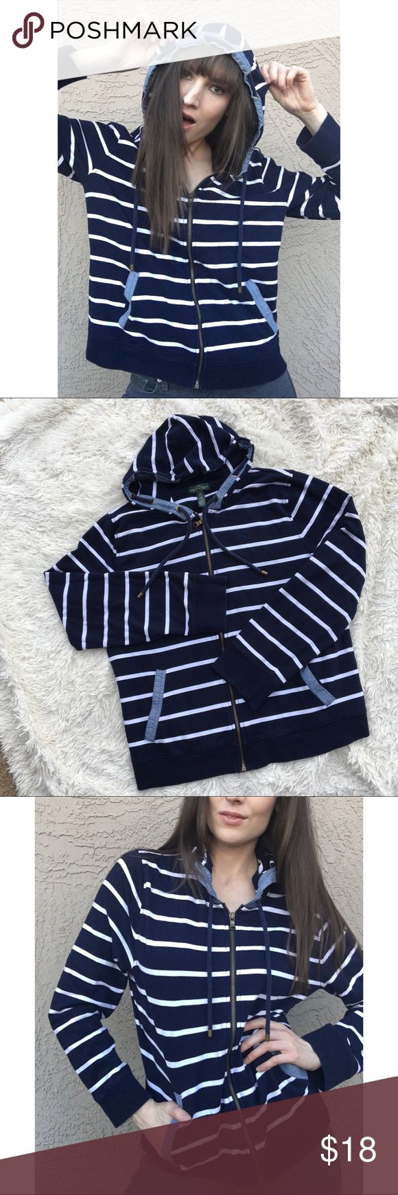 RALPH LAUREN Naitical Striped Zip Hoodie Nautical navy & white striped full-zip hoodie with chambray trim details. Two front pockets and trimmed hood. One very small spot on the bottom back left, as shown in photo. ✨OFFERS WELCOME✨ Pit to Pit: , Length: . For reference, I'm 5'9 & usually wear an xs/s. Measurements coming momentarily Lauren Ralph Lauren Tops Sweatshirts & Hoodies