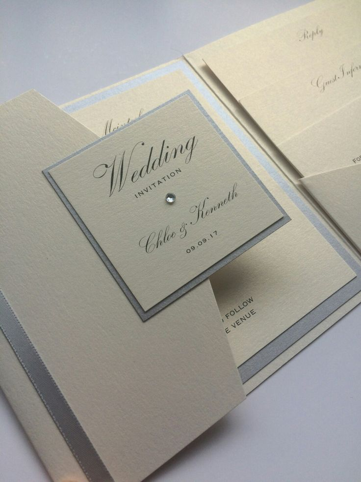 Silver and ivory traditional English Wedding invitation